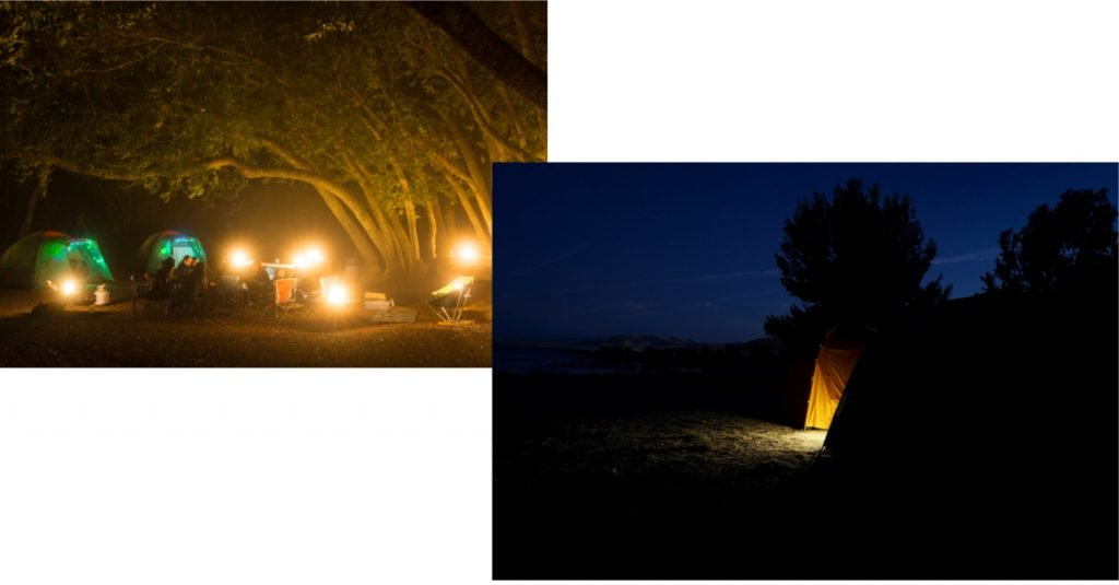 Well lit campsite and tent