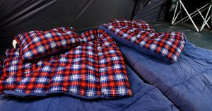 Roomy, warm sleeping bags on queen sized air mattress - great for warm, comfortable sleeping