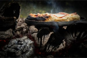 Campfire Pizza on Iron Skillet