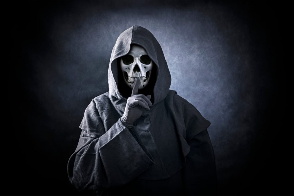 Camping Actitivities for Adults - Ghost Stories - Grim reaper with finger to lips
