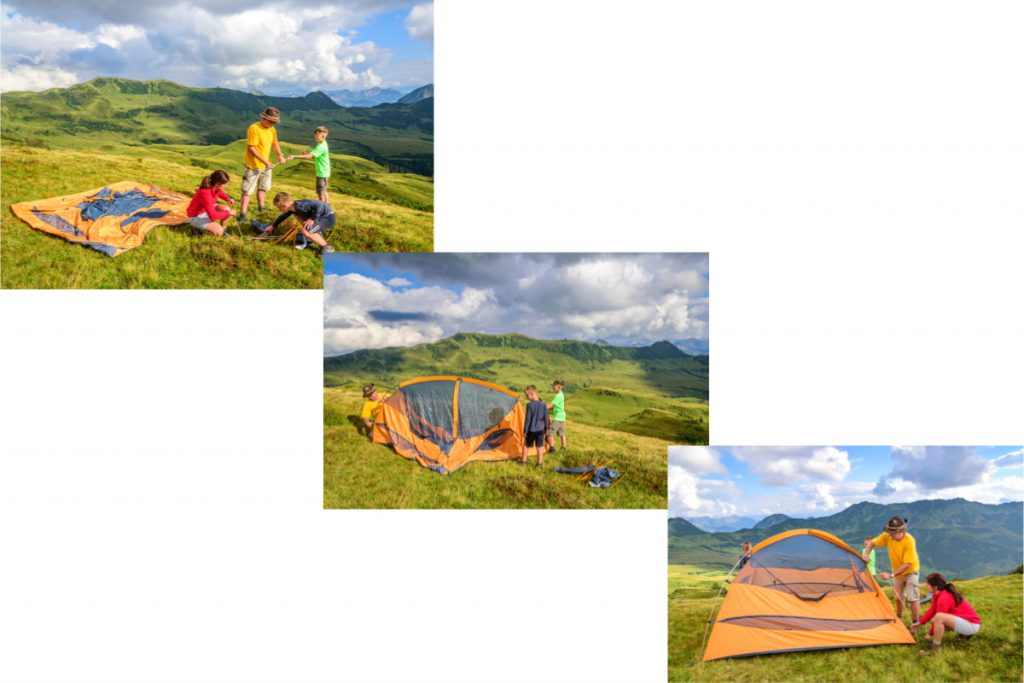 3 images showing a family easily pitching a dome tent