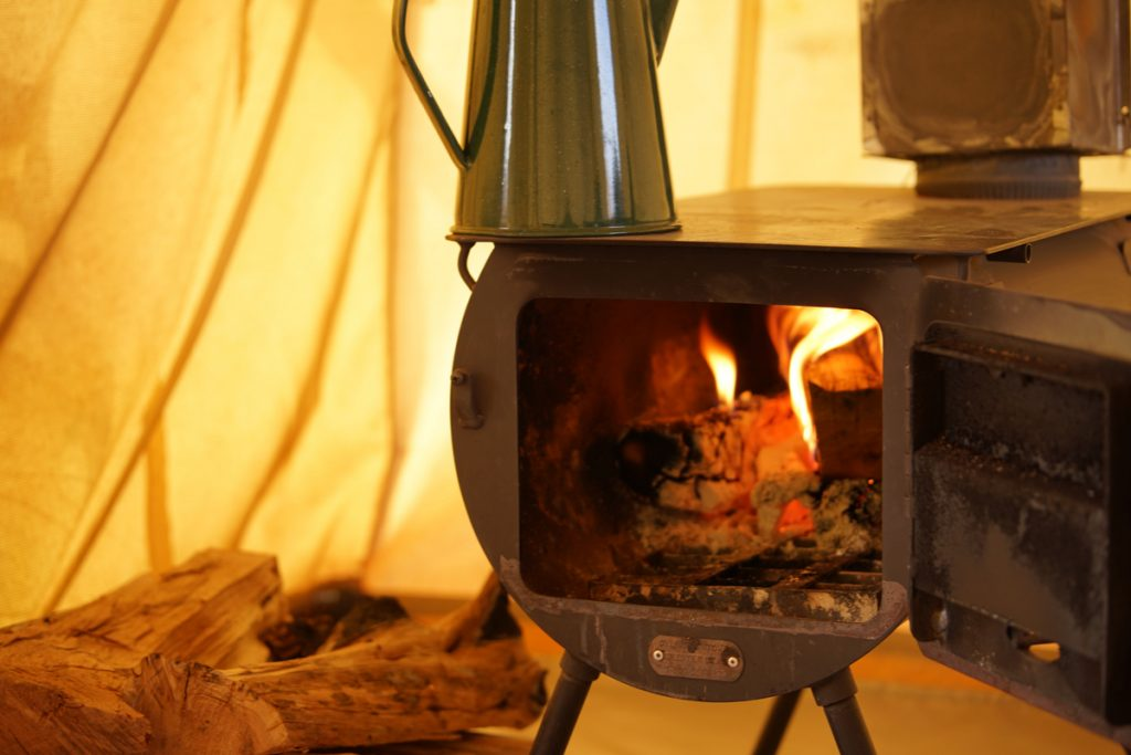 In Tent Wood burning stoves can be quite big and include smokers