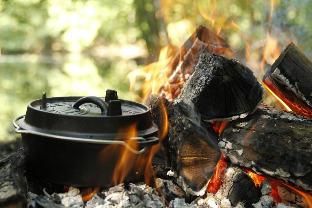 Cooking over an open campfire