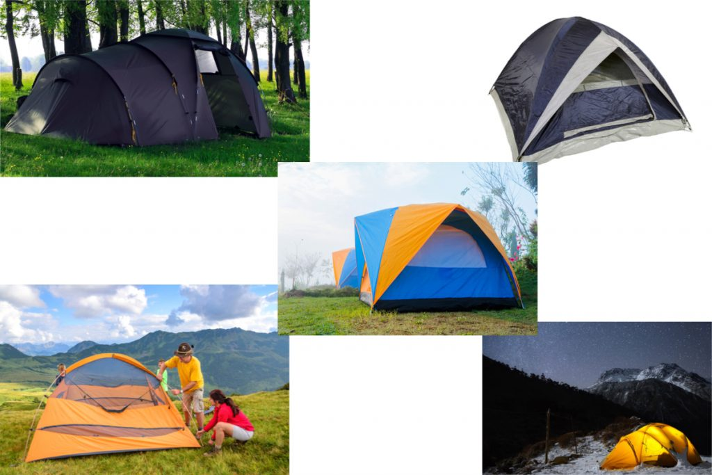 Range of dome tents in different styles, sizes and colours