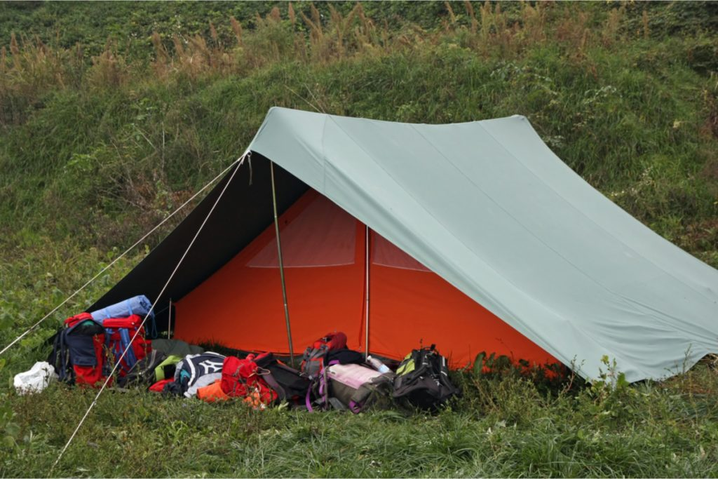 Backpackers ridge tent.  Very good in strong winds, rain and cold