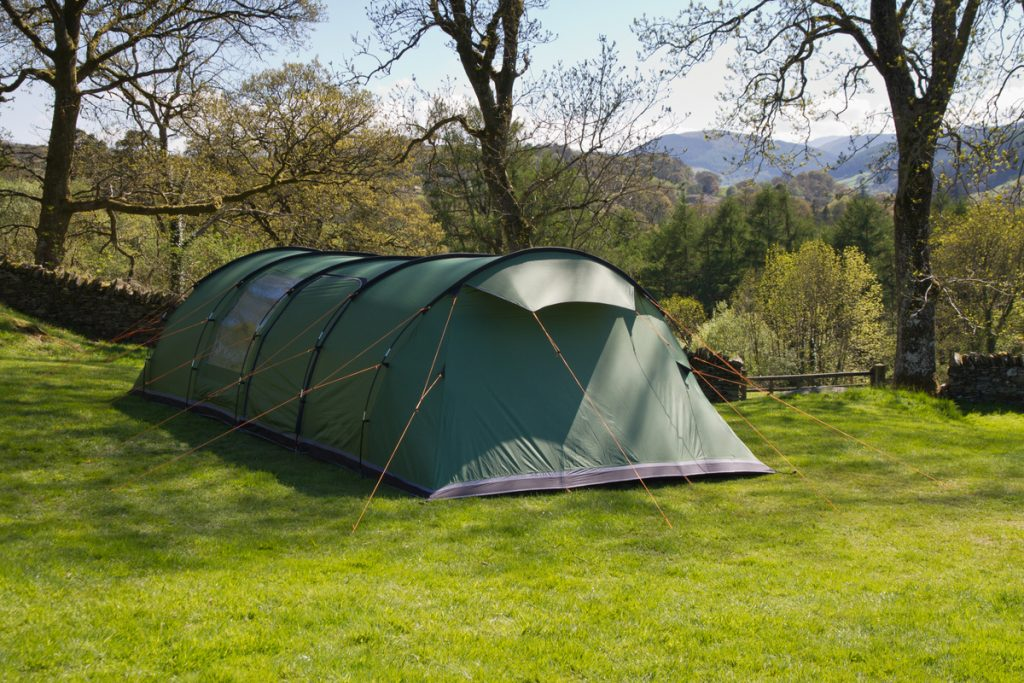 Tunnel Tent with guy ropes fully used
