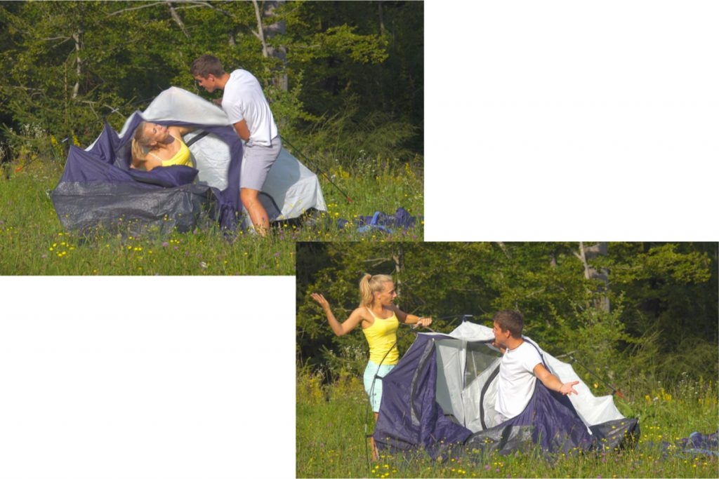 Couple having difficulty setting up pole tent